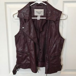 American Rag Maroon Belted Leather Vest